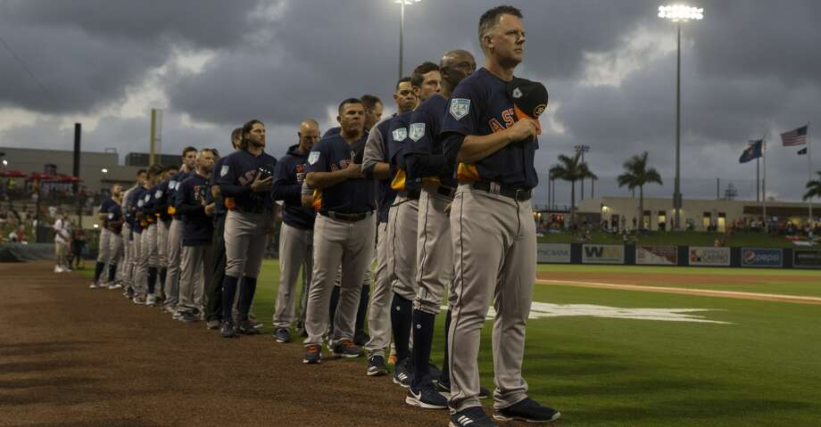 PHOTOS: Astros game-by-game Houston Astros manager AJ Hinch (14) leads the team during National Anthem at the first spring training game against Washington Nationals at Fitteam Ballpark of The Palm Beaches on Saturday, Feb. 23, 2019, in West Palm Beach. Browse through the photos to see how the Astros have fared in each game this season. Photo: Yi-Chin Lee/Staff Photographer