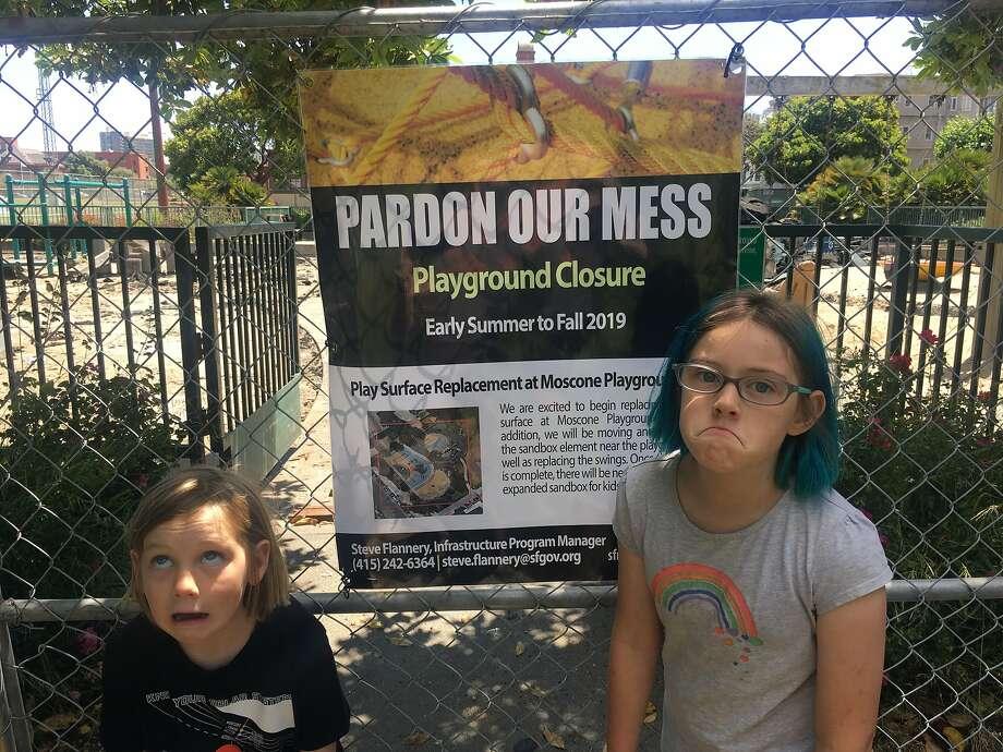 Poppy Allen, 9, (right) and Lincoln Allen, 7, at Moscone Recreation Center Playground in the Marina. Photo: Mc Allen