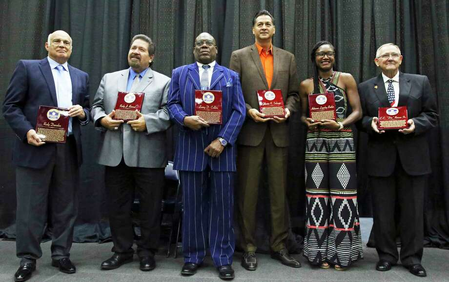 SAISD holds its 2019 Athletic Hall of Fame induction ceremony at the Alamo Convocation Center on Saturday. Honorees, from left, are Rudy Davalos, RudyBernal, Larry Collins, Gilbert Salinas Adriane Lapsley Butler and Diz Reeves. Photo: Tom Reel /Staff Photographer / 2019 SAN ANTONIO EXPRESS-NEWS