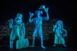 Guests should beware of hitchhiking ghosts in the Haunted Mansion at Disneyland Park as they could follow them home. The Haunted Mansion is the home of 999 happy haunts, but there is always room for one more as guests take a spirited tour aboard their doom-buggy. During the tour, guests glide past a rattling casket in the conservatory, head off to Madame Leota's spooky séance room, float by the Grand Ballroom and its waltzing apparitions, then take a spin through a cemetery. The Haunted Mansion at Disneyland Park in Anaheim, Calif., opened on Aug. 9, 1969.