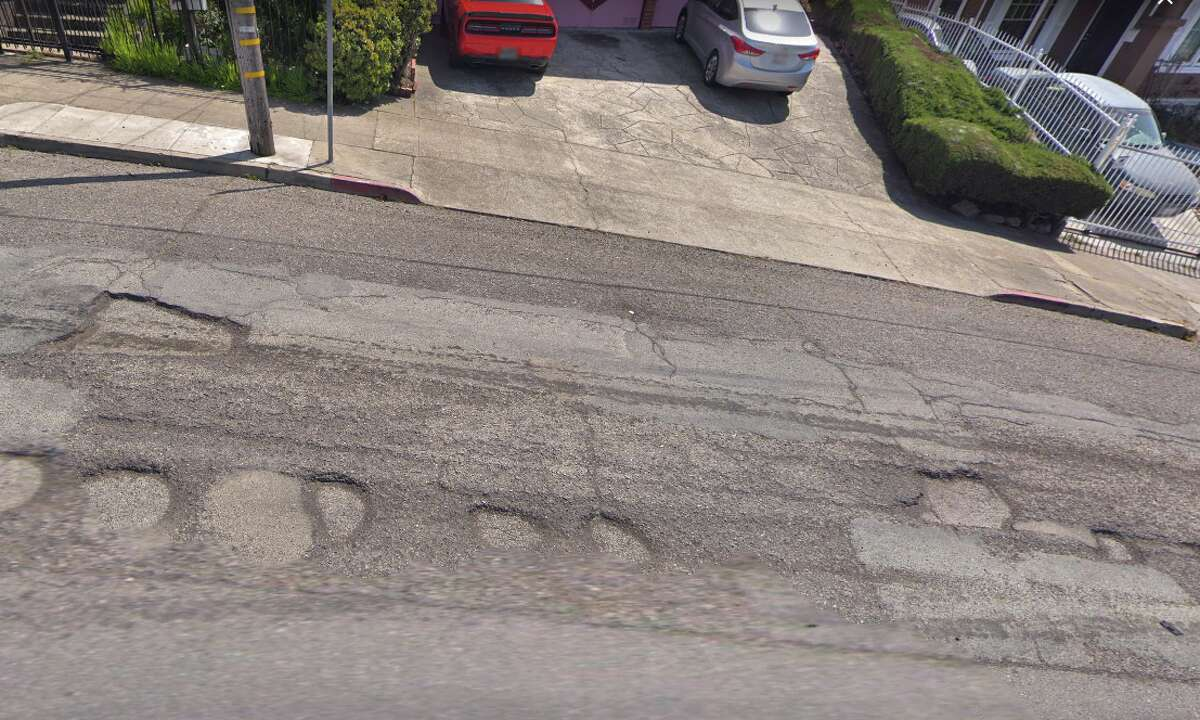 A view of Harold Street's once-dimpled pavement that plagued Oakland drivers.