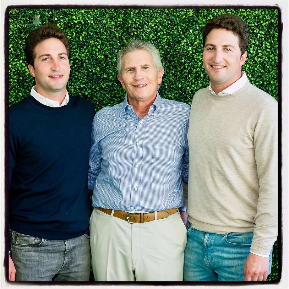 Stern Grove Festival board chairman Matthew Goldman (left) with his dad, outgoing chairman Doug Goldman, and brother, festival treasurer Jason Goldman, at the Big Picnic fundraiser. Aug. 18, 2019. Photo: Devlin Shand / Drew Altizer Photography
