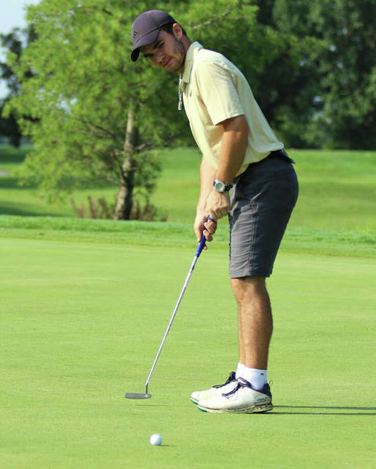 Metro-East Lutheran's Antonio Ybarra watches his putt lip out on hole No. 1 on Monday morning at East Alton-Wood River's Hickory Stick Invitational boys golf tournament at Belk Park in Wood River. Ybarra earned a medal with a ninth-place finish at 81. Photo: Greg Shashack / Hearst Illinois