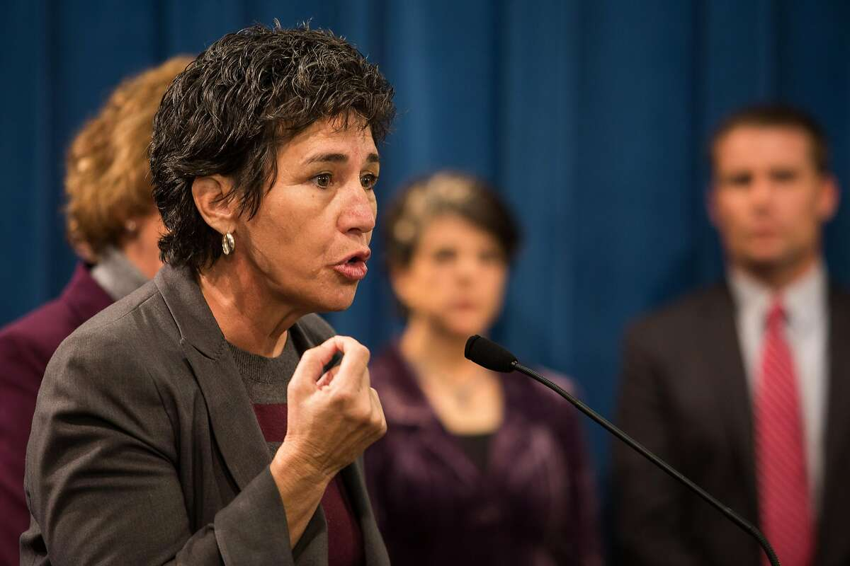 """Assemblymember Susan Eggman, left, introduces SB 128, """"The End-of-Life Options Act"""", during a press conference at the State Capitol in Sacramento, California, January 21, 2015."""