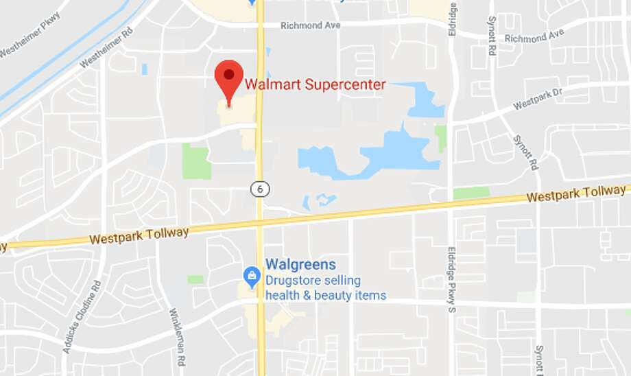 HCSO deputies are investigating an anonymous terror threat at a Walmart near Highway 6 and the Westpark Tollway. Photo: Google Maps