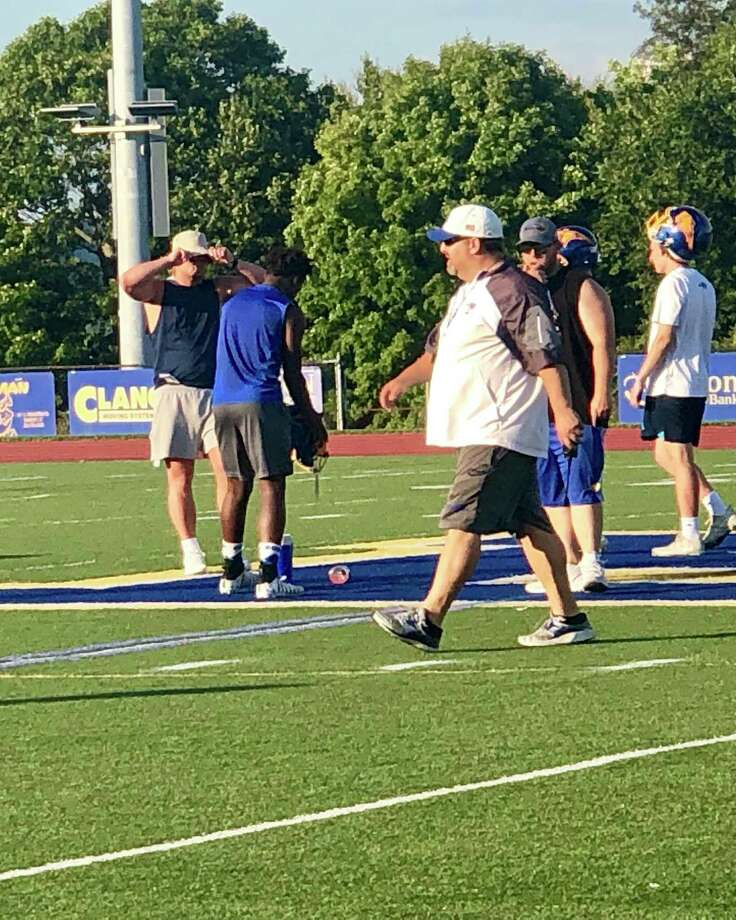 Brookfield football coach Bryan Muller during the team's first practice Monday. Photo: Ryan Lacey / Hearst Connecticut Media