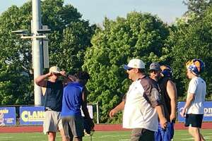 Brookfield football coach Bryan Muller during the team's first practice Monday.