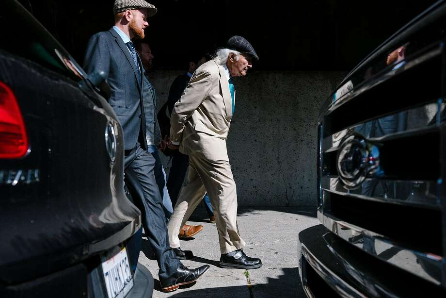 Defense lawyer Tony Serra, right, and his team leave the Alameda County Superior Courthouse in Oakland, Calif, on Monday, August 19, 2019. The presiding judge of the ongoing Ghost Ship trial dismissed three jurors over unspecified infractions, stalling the verdict, and sending replacement jurors back into deliberation. Photo: Michael Short, Special To The Chronicle