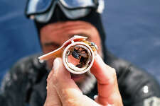 Ben Lecomte holds a piece of plastic found in the Pacific Ocean that had become a home for a small crab.