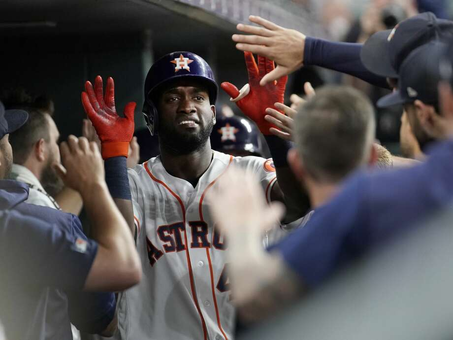 PHOTOS: Astros players' contract situation heading into 2019-20 offseason  Houston Astros Yordan Alvarez celebrates in dugout after he scored on a double hit by Yuli Gurriel against the Detroit Tigers during the first inning of MLB game at Minute Maid Park Monday, Aug. 19, 2019, in Houston.  Alex Bregman also scored. >>>A look at the contract situation for each Houston Astros player heading into the 2019-20 offseason ...  Photo: Melissa Phillip/Staff Photographer