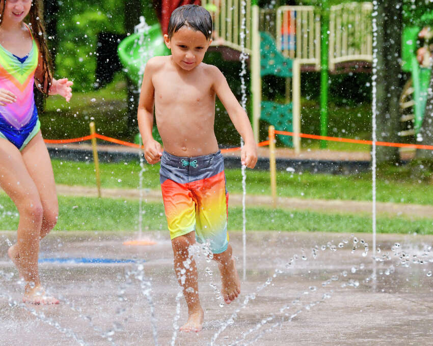 Max Erikson, 7, cools off at the new Blatnick Park splash pad on Monday, August 19, 2019, in Niskayuna, N.Y. (Paul Buckowski/Times Union)