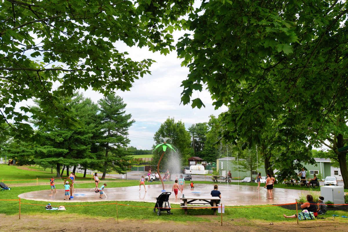 Children cool off at the new Blatnick Park splash pad on Monday, August 19, 2019, in Niskayuna, N.Y. (Paul Buckowski/Times Union)