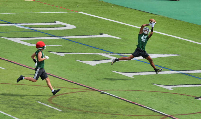 Shenendehowa High School varsity football players run through drills during practice on Monday, August 19, 2019, in Clifton Park, N.Y. (Paul Buckowski/Times Union)