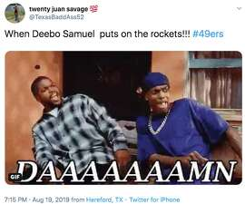 San Francisco 49ers rookie wide receiver Deebo Samuel reached 21 miles per hour during a 45-yard run against the Denver Broncos on Monday Night Football and it got 49ers fans excited about what he could bring to the team.