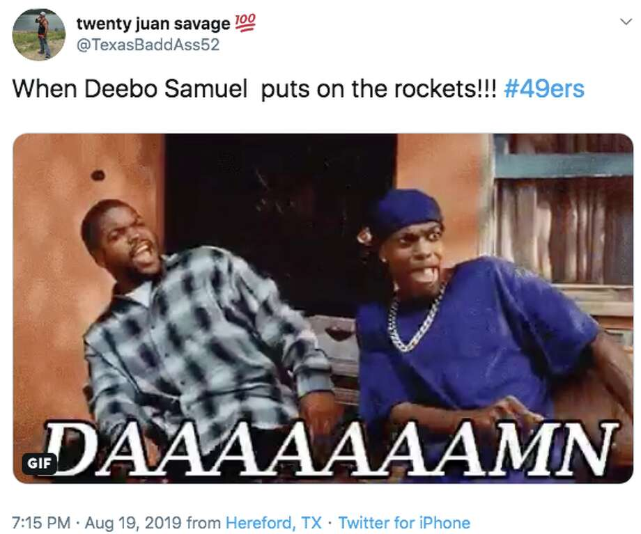 San Francisco 49ers rookie wide receiver Deebo Samuel reached 21 miles per hour during a 45-yard run against the Denver Broncos on Monday Night Football and it got 49ers fans excited about what he could bring to the team. Photo: Screenshot Via Twitter