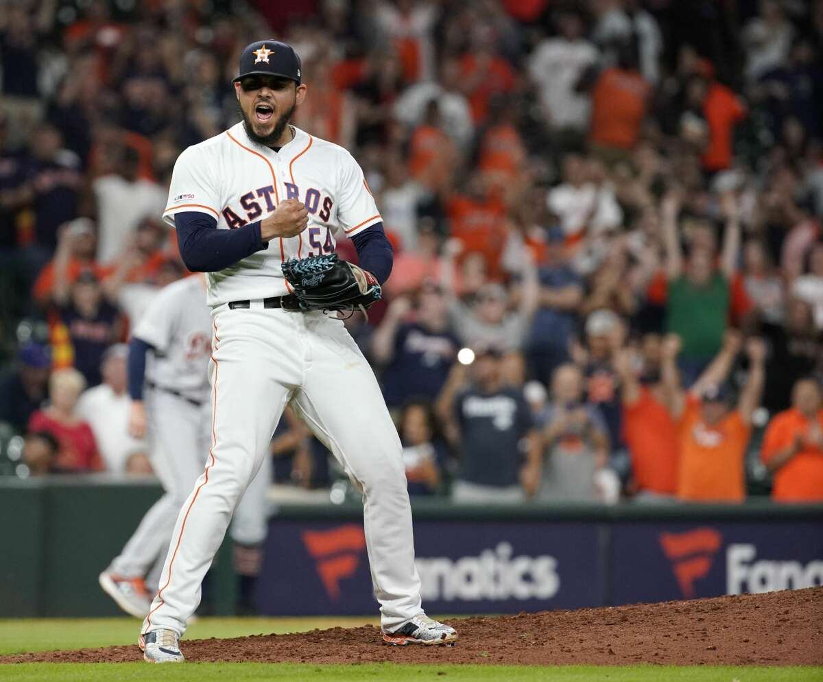 Houston Astros pitcher Roberto Osuna celebrates win over the Detroit Tigers during MLB game at Minute Maid Park Monday, Aug. 19, 2019, in Houston. Tigers John Hicks struck out swinging.