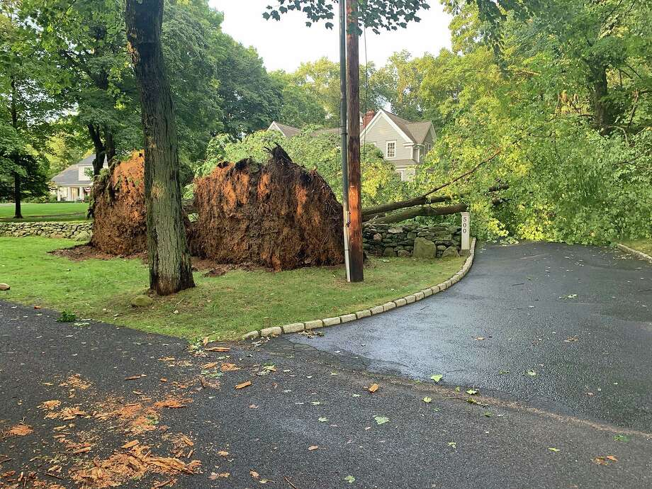 A strong line of thunderstorms knock down trees including this one in Fairfield on Monday, Aug. 19, 2019. As of Tuesday morning, more than 300 are still without power in Fairfield. Photo: Fairfield Police Photo