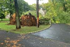 A strong line of thunderstorms knock down trees including this one in Fairfield on Monday, Aug. 19, 2019. As of Tuesday morning, more than 300 are still without power in Fairfield.