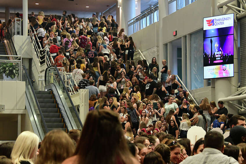 A crowd waits to enter to see the Jonas Brothers perform in concert at the Times Union Center on Monday, Aug. 19, 2019 in Albany, N.Y. (Lori Van Buren/Times Union)