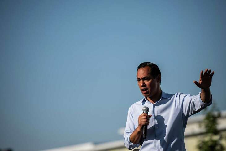 Former secretary of Housing and Urban Development Julian Castro speaks to Iowa voters on the Soapbox stage at the Iowa State Fair on Friday, Aug. 9, 2019, in Des Moines, Iowa. MUST CREDIT: Washington Post photo by Salwan Georges.