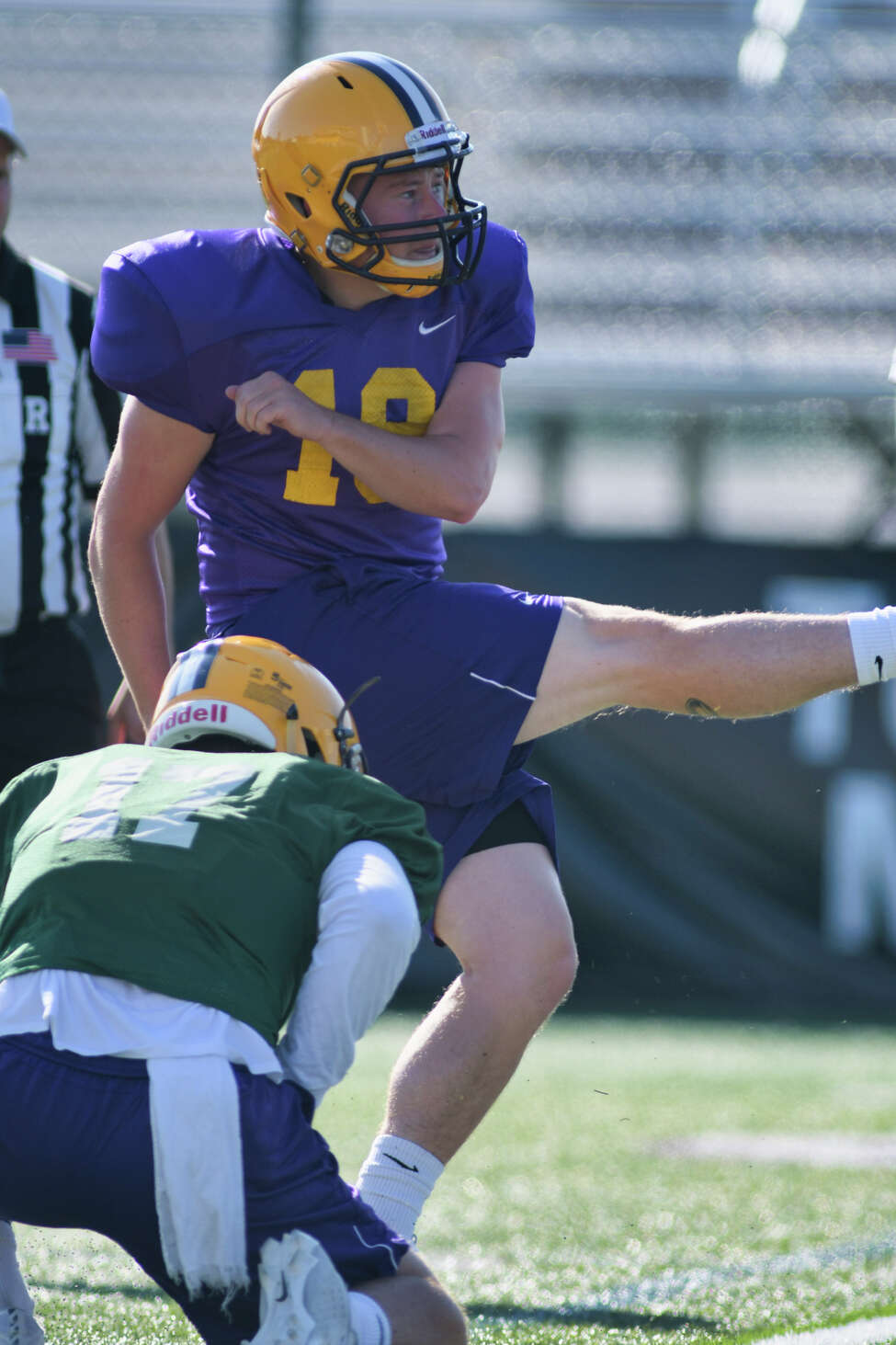 UAlbany football kicker Dylan Burns watches his kick go through the goal posts during practice on Tuesday, Aug. 20, 2019, in Albany, N.Y. (Paul Buckowski/Times Union)