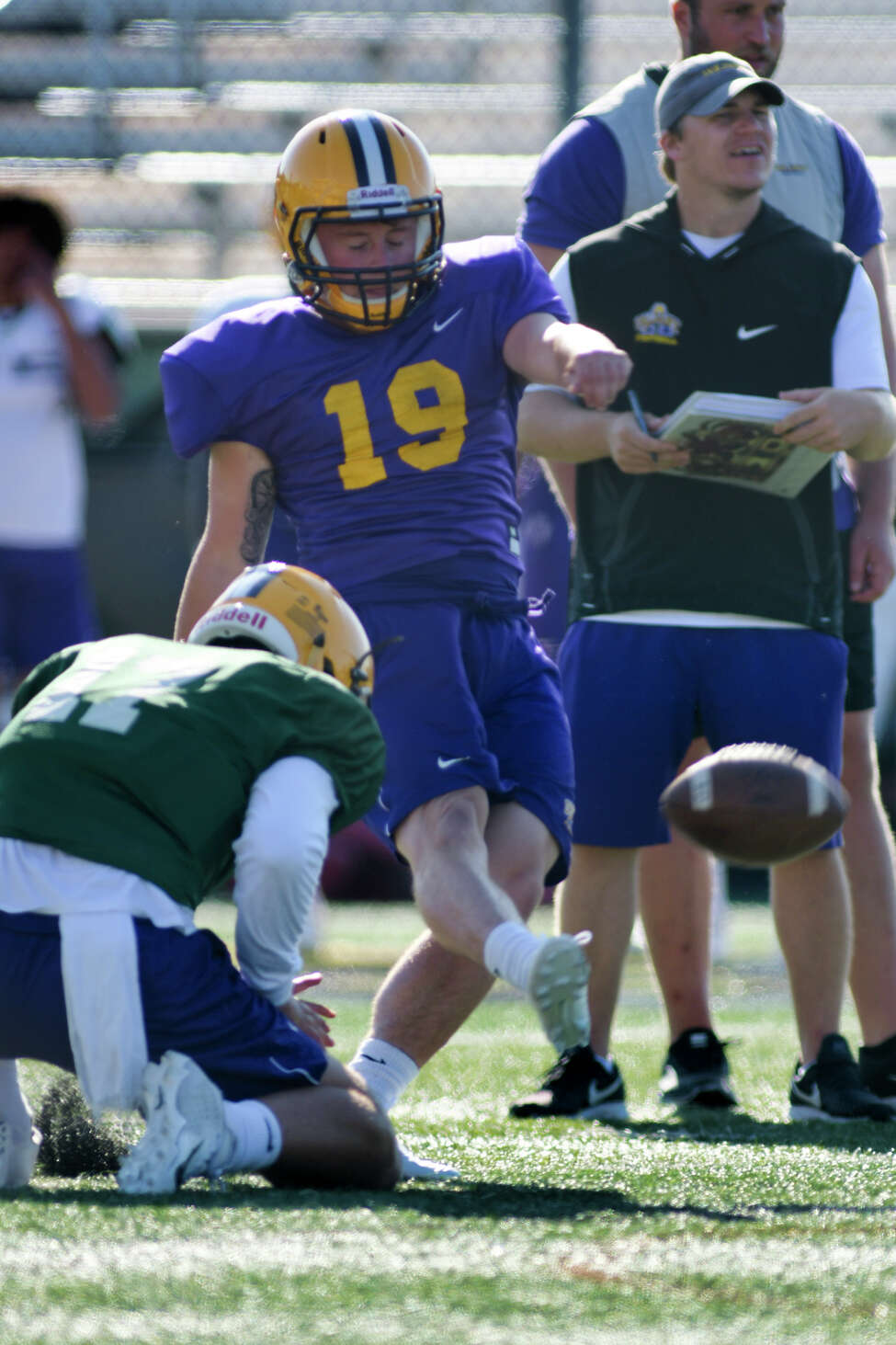 UAlbany football kicker Dylan Burns during practice on Tuesday, Aug. 20, 2019, in Albany, N.Y. (Paul Buckowski/Times Union)