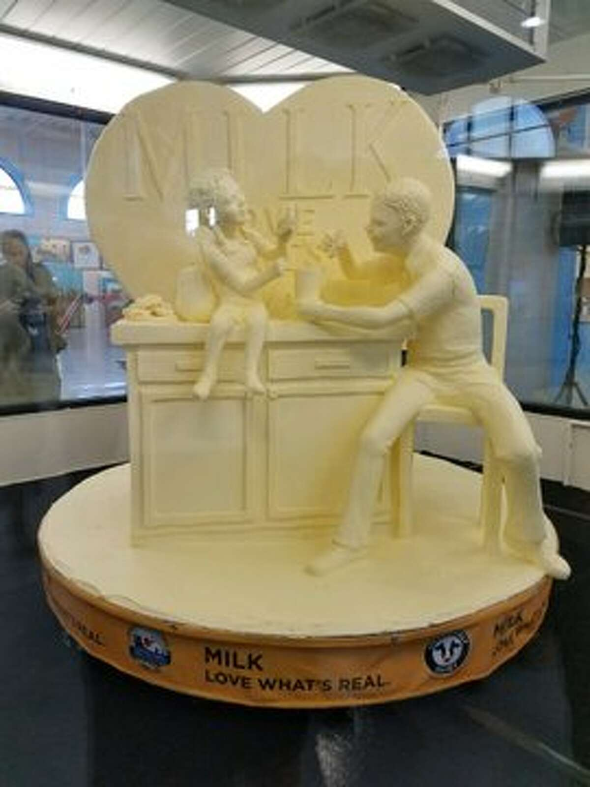 Milk. Love What's Real is the 2019 New York State Fair butter sculpture theme. It was unveiled on Aug. 20 at the fairgrounds in Syracuse.