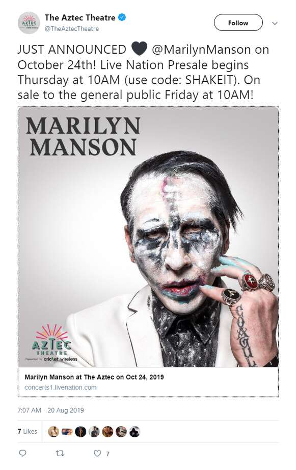 Marilyn Manson is set to perform Oct. 24 at San Antonio's Aztec Theatre. Photo: Aztec Theater Tweet