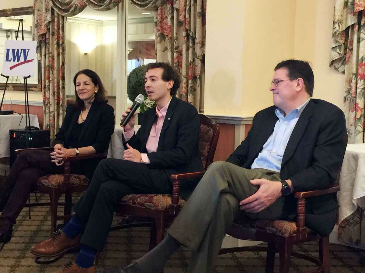 State legislators Gail Lavielle, Will Haskell and Tom O'Dea discussed school regionalization and other issues at last year's Wilton League of Voters legislative breakfast. This year's breakfast is Saturday, Feb. 1.