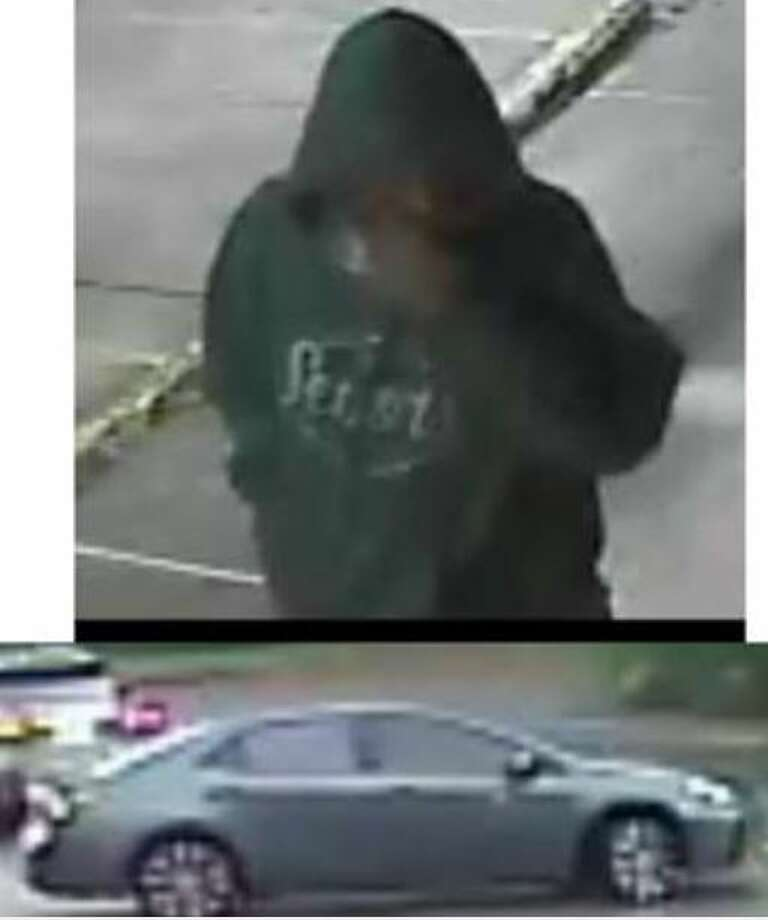 A man and the vehicle he was riding are seen in surveillance footage stills around the time authorities say he robbed two women at gun point in Spring. Photo: Courtesy Of The Montgomery County Sheriff's Office