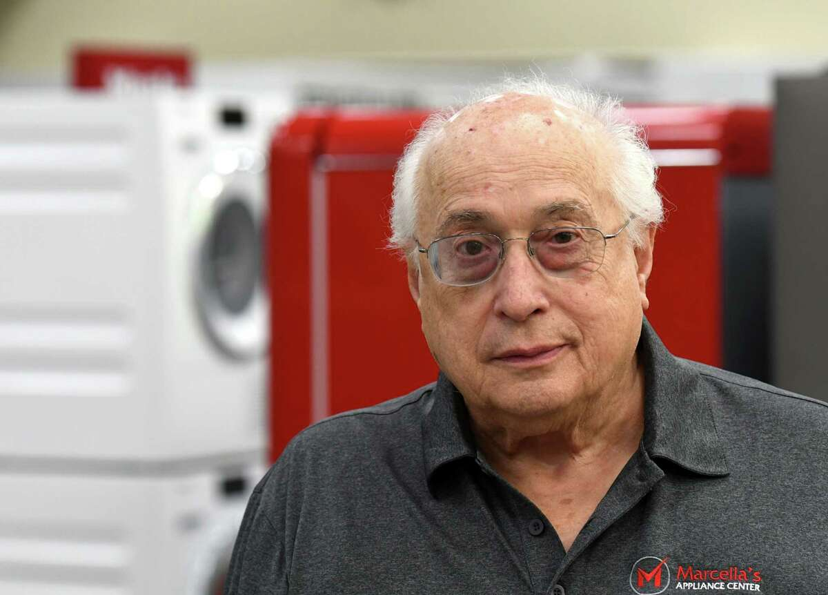 John D. Marcella, owner of Marcella's Appliances, is pictured in his showroom on Wednesday, Aug. 14, 2019, in Schenectady, N.Y. Marcella says he fears appliance delivers will be delayed by a fire Tuesday at one of his company's warehouses. (Will Waldron/Times Union)