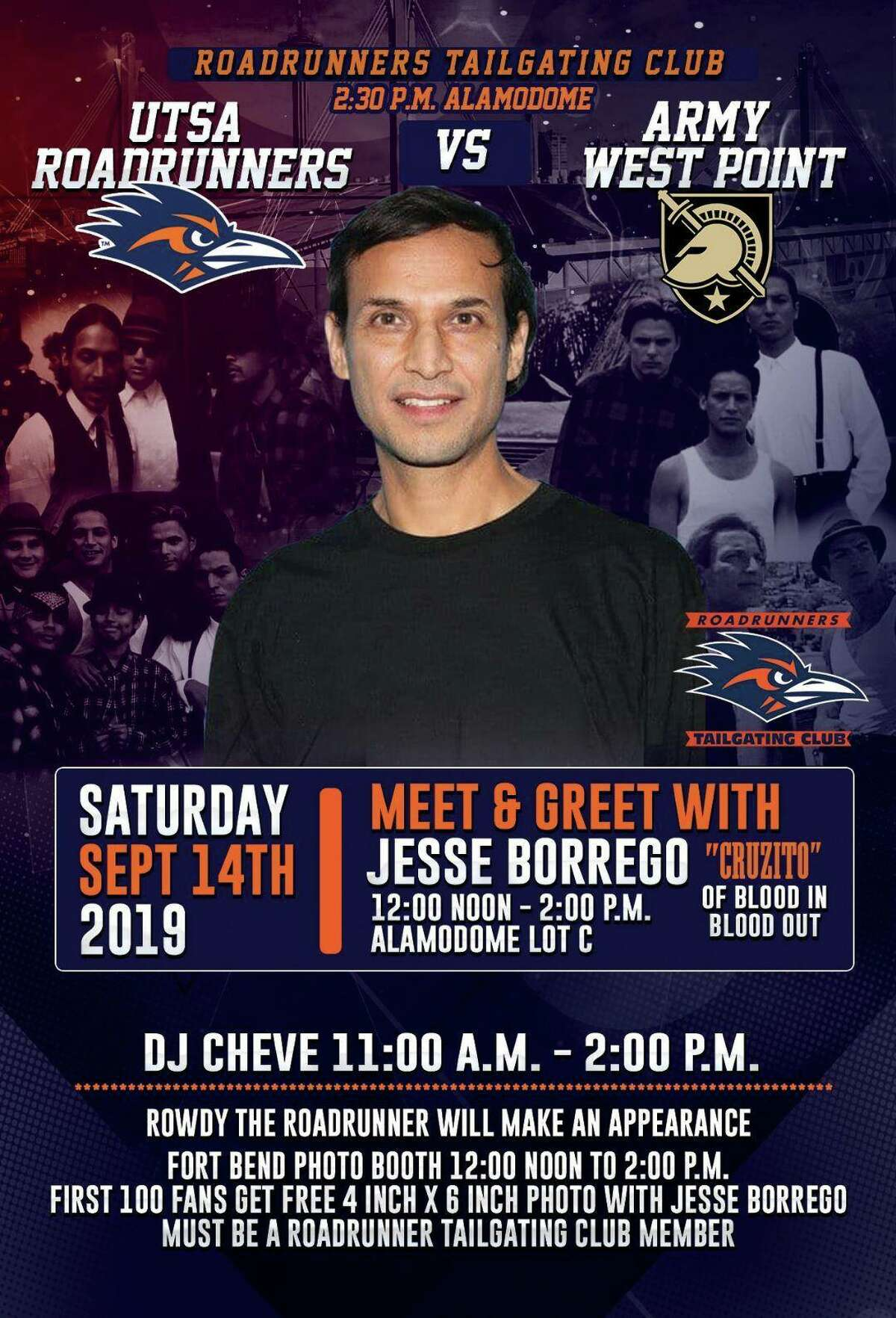 Rudy Juarez is organizing the inaugural Roadrunners Tailgating Club event in Lot C from noon to 2 p.m. on Sept. 14, when UTSA football plays Army West Point and the famous Fiesta character unites with YouTube comedienne La Tiny and actor Jesse Borrego.