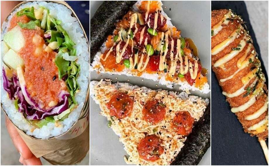 """Atlanta-based Poke Burri offers classic and customizable poke bowls as well as poke and sushi burritos. The chain's """"secret menu"""" consists of whimsical-shaped items you wouldn't normally find at a sushi restaurant, such as pizza, corn dogs and even doughnuts. Photo: Courtesy Poke Burri"""
