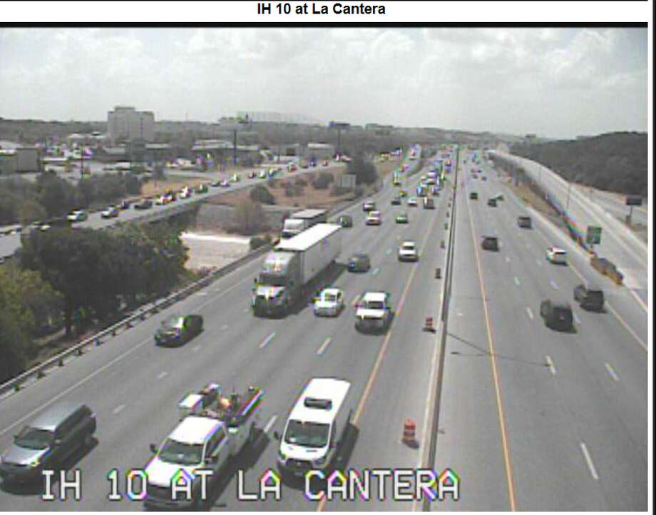 Northbound Interstate 10 at La Cantera Parkway is now open after a crash and fuel spill involving an 18-wheeler rollover shut down all lanes, according to the Texas Department of Transportation. Photo: TxDOT