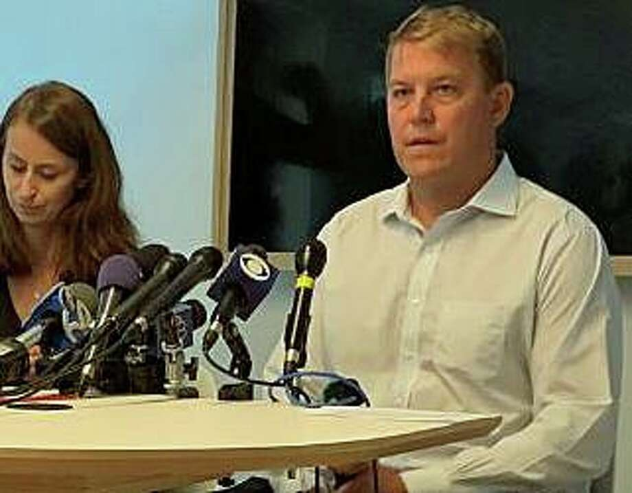 Gavin Scott Hapgood, the UBS trader accused of killing a hotel worker during a violent struggle while on vacation with his family in the Caribbean, speaks publically for the first time on the incident on Tuesday, Aug. 21, 2019. The Darien man and his attorney, Juliya Arbisman, of Amsterdam & Partners LLP based in London, held a press conference Tuesday afternoon in Manhattan. Photo: Justin Papp /Hearst Connecticut Media