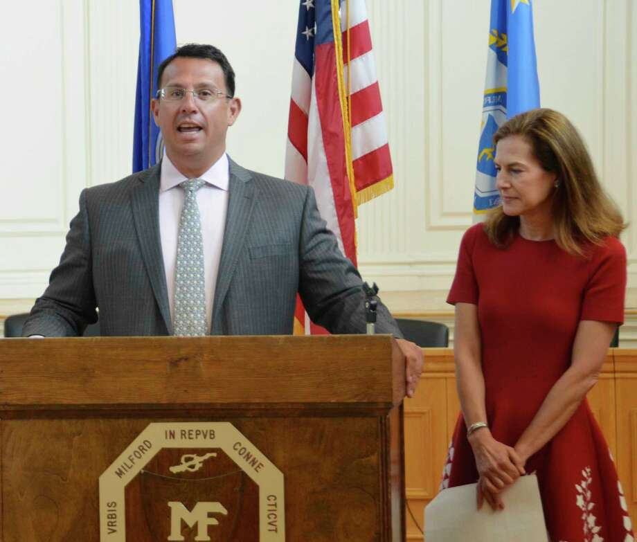 Mayor Ben Blake and  Lt. Governor Susan Bysiewicz joined others at Milford City Hall on Aug. 20 to talk about the 2020 census. Photo: Jill Dion / Hearst Connecticut Media