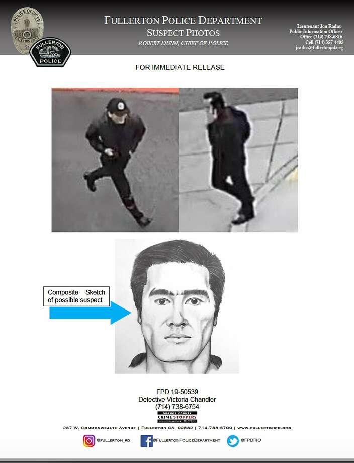 This wanted poster released Tuesday, Aug. 20, 2019 by the Fullerton, Calif., Police Department, shows a sketch and surveillance images of a suspect in the stabbing death of a retired college administrator at California State University, Fullerton on Monday.   Police say the attacker targeted 57-year-old Steven Shek Keung Chan in his car and stabbed him numerous times. They say a motive has not been determined. (Fullerton Police Department via AP) Photo: Associated Press