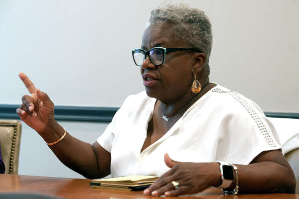 State Sen. Marilyn Moore speaks during a meeting with the Hearst Connecticut Media Editorial Board, at the Connecticut Post office in Bridgeport, Conn. Aug. 20, 2019. Moore is a democratic candidate for Mayor of Bridgeport.