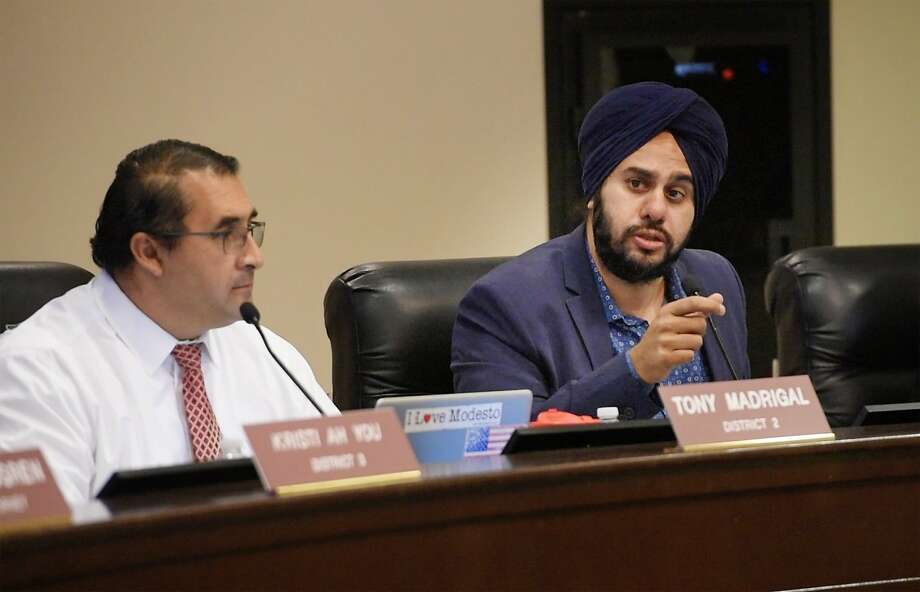 Modesto City Councilman Mani Grewal (right) is a candidate in 2020 for a state Senate seat in the Central Valley. Photo: Andy Alfaro / Modesto Bee