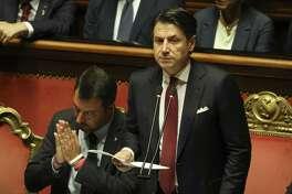 Prime Minister Giuseppe Conte addresses the Senate in Rome on Aug. 20, 2019.