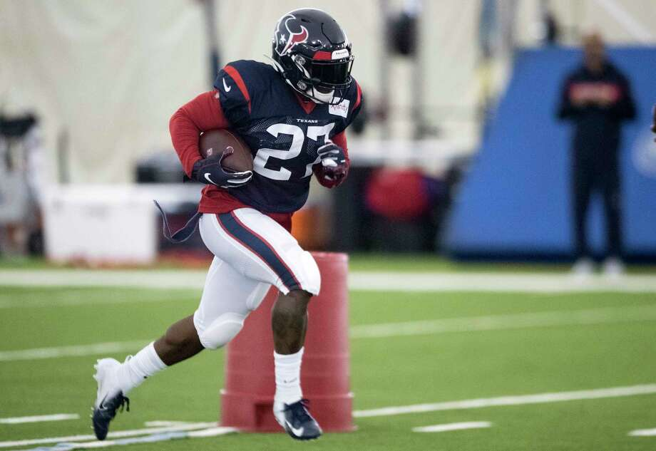 PHOTOS: A look at al the running backs the Texans currently have in training camp Houston Texans running back Duke Johnson (27) runs the ball during training camp at the Methodist Training Center on Tuesday, Aug. 20, 2019, in Houston. Browse through the photos above for a look at the Texans running backs currently in camp ...   Photo: Brett Coomer, Staff Photographer / © 2019 Houston Chronicle