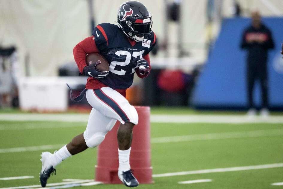 Houston Texans running back Duke Johnson (27) runs the ball during training camp at the Methodist Training Center on Tuesday, Aug. 20, 2019, in Houston.