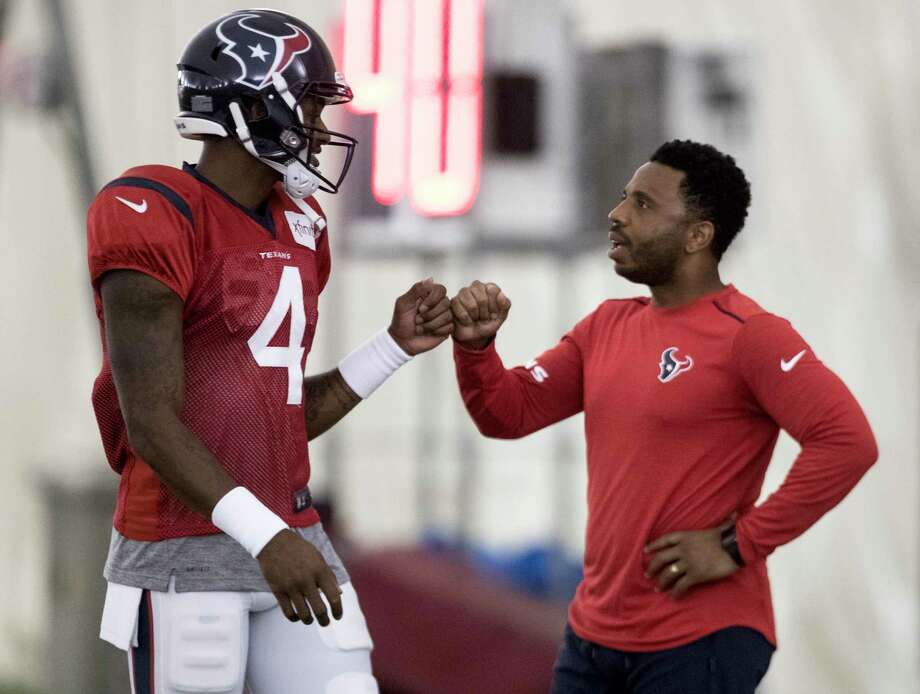 PHOTOS:Each Texans player's contract heading into 2020 offseason Houston Texans quarterback Deshaun Watson (4) fist bumps Texans ambassador J.J. Moses during training camp at the Methodist Training Center on Tuesday, Aug. 20, 2019, in Houston. >>>A look at the contract situation for each Houston Texans player in the 2020 NFL offseason... Photo: Brett Coomer, Staff Photographer / © 2019 Houston Chronicle