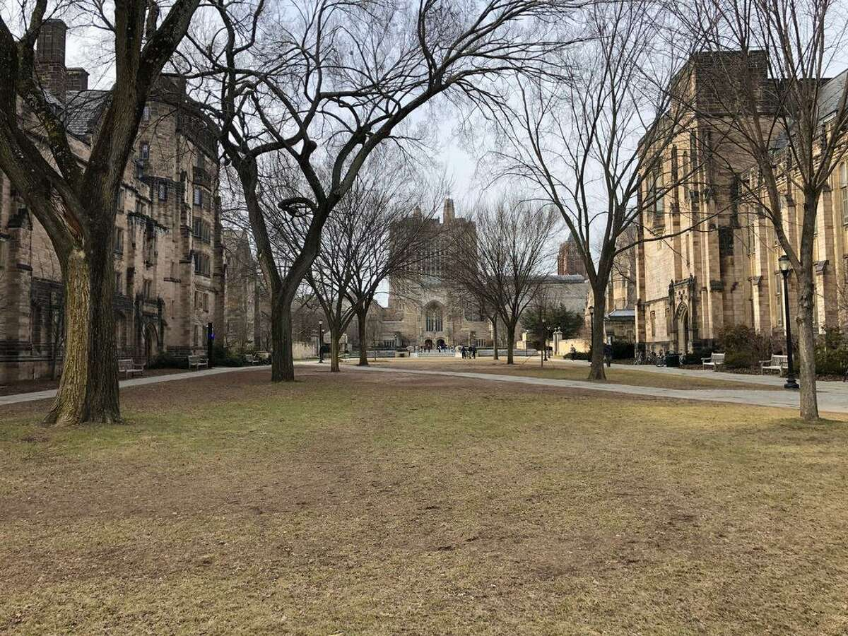 A view of Cross Campus at Yale University in New Haven with Sterling Memorial Library in the rear, as seen from College Street. At left is Grace Hopper College. At right is William L. Harkness Hall. Under the Cross Campus lawn is the Bass Library.