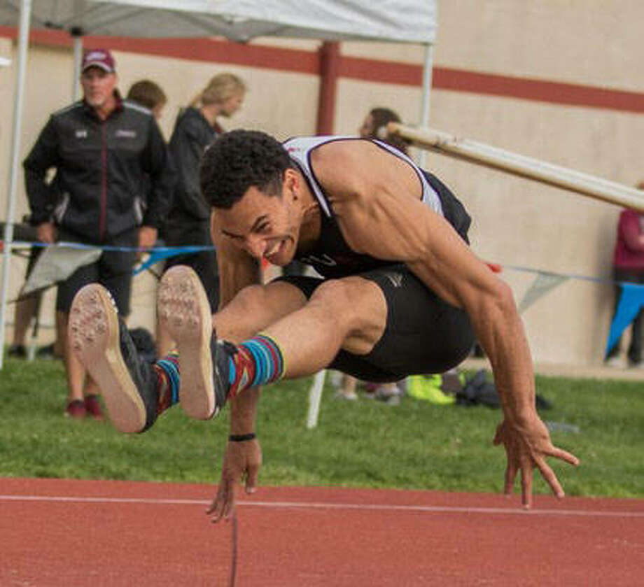 Former SIUE and Edwardsville High School track and field standout Julian Harvey recently became a volunteer assistant coach for the men's track and field team at the University of Wisconsin. He will also train in the long jump to try to qualify for the 2020 Summer Olympics in Tokyo. Photo: SIUE Athletics