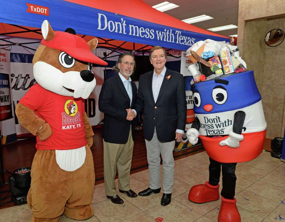 "Buc-ee's Founder Arch ""Beaver"" Aplin, left, poses with Texas Transportation Commission Chairman, Commissioner J. Bruce Bugg, Jr. during the announcement of the collaboration of Buc-ee's with the Don't Mess With Texas Program at the Katy Buc-ee's on Tuesday, Aug. 20. Photo: Craig Moseley, Houston Chronicle / Staff Photographer / ©2019 Houston Chronicle"