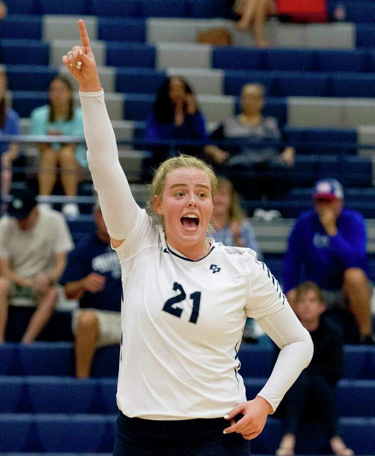 College Park setter Annie Cooke (21) reacts after a point in the first set of a match during the Kingwood Invitational volleyball tournament at Kingwood High School, Saturday, Aug. 17, 2019, in Kingwood. Photo: Jason Fochtman, Houston Chronicle / Staff Photographer / Houston Chronicle