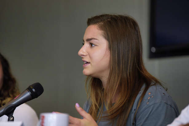 Former LSU gymnast McKenna Kelley talks to the media during an Aurora Games press conference at the Albany Capital Center on Tuesday, Aug. 20, 2019, in Albany, N.Y. (Paul Buckowski/Times Union)