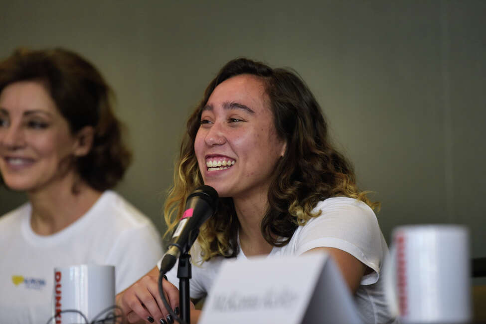 Former UCLA gymnast Katelyn Ohashi talks to the media during an Aurora Games press conference at the Albany Capital Center on Tuesday, Aug. 20, 2019, in Albany, N.Y. (Paul Buckowski/Times Union)