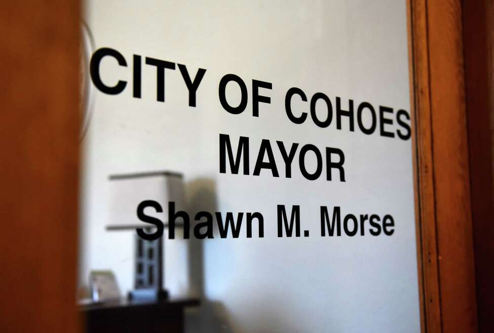 The office of Cohoes Mayor Shawn Morse still bears his name after the embattled city leader pleaded guilty to a felony wire fraud count on Tuesday, Aug. 20, 2019, at Cohoes City Hall in Cohoes, N.Y. Morse has vowed to remain office. (Will Waldron/Times Union)